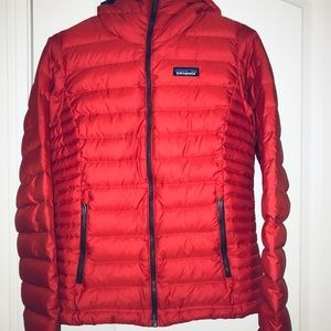 Red Patagonia hooded down sweater jacket